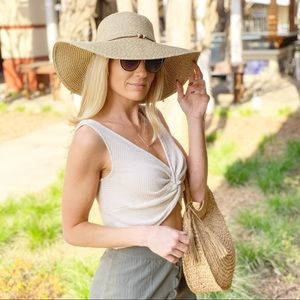 Infinity Raine Accessories - Sand toned floppy hat with wooden bead band